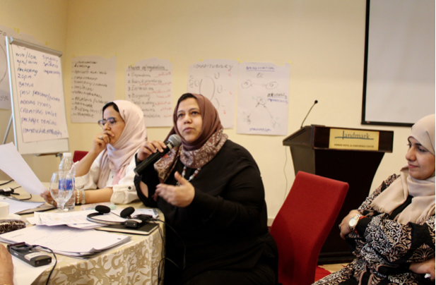Muna Luqman, Chairperson of Food for Humanity Yemen, speaking at a convening on the peace process in Yemen, 2019. Photo: WILPF